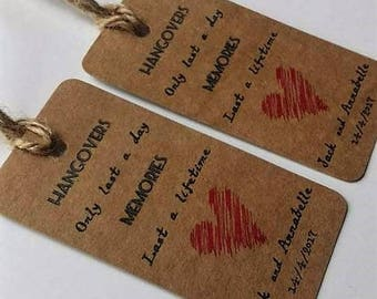 Hangover kit tag, wedding, hen party or stag party