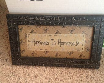 Happiness is homemade real homemade picture stitched in beautiful black frame 10x6