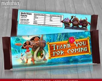 Moana Hershey Candy Bar Wrappers - INSTANT DOWNLOAD - Disney Moana Hershey's Chocolate Birthday Party Printable - Moana Maui