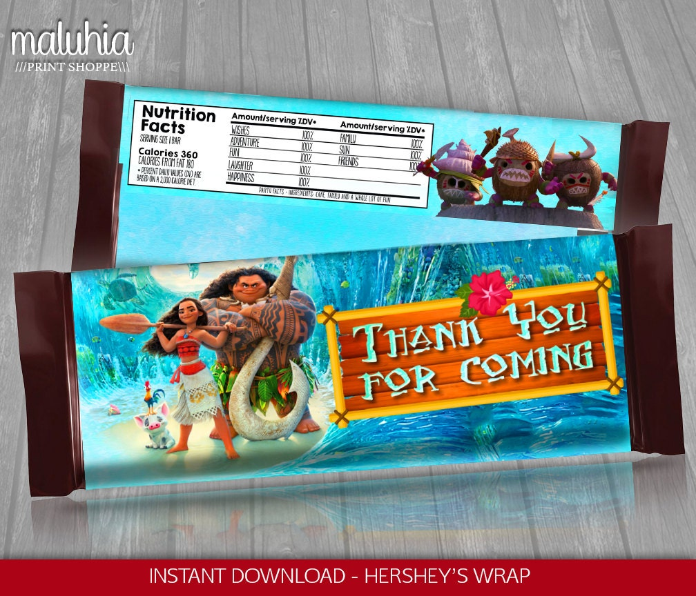 moana hershey candy bar wrappers instant download disney