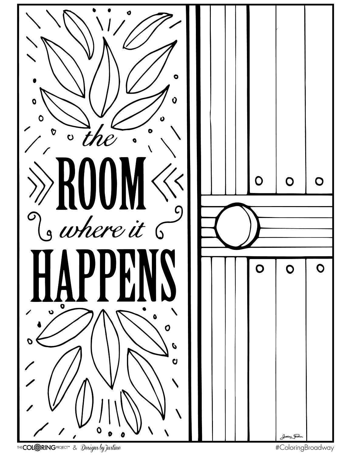 Coloring broadway hamilton the room where it happens for Hamilton coloring pages