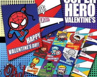 Marvel Avengers Super Hero Valentine's Day Cards Digital Printable File
