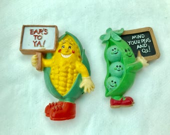 Vintage Corn And and Peas Refrigerator Magnets