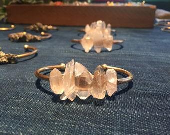 Natural Quartz Point Raw Brass Cuff Bracelet
