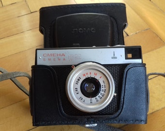 Vintage Soviet SMENA 8M Camera in original leather case / Lomo Camera- Lomograhy/ collectible camera/ 35 mm film