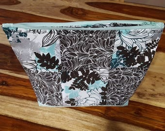 Floral Teal and Black Quilted Zipper Pouch, Make-Up Bag, Travel Bag,