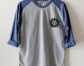 Anti-Possession shirt Supernatural Small Pic Unisex tumblr women&men Baseball shirt Longsleeve t-shirts size M36'' L40'' XL44''