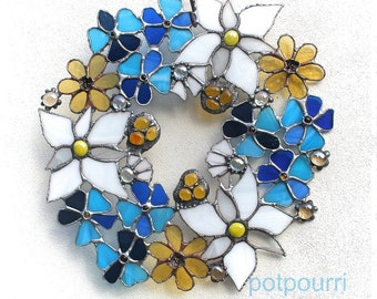 Glass wreath / flowers / stained glass / Tiffanytechnik / stained / decorative