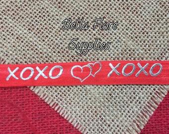 XOXO Fold Over Elastic- Red Fold Over Elastic- Wholesale Elastic- DIY Headband- Valentines Day FOE- Elastic By The Yard-