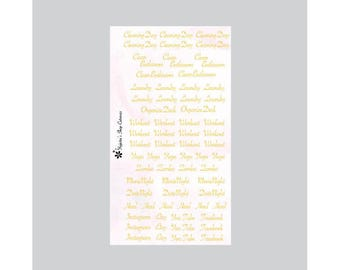 Gold Foil Words Stickers B