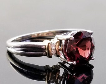 Red Garnet Solitaire Ring in 10K  White & Yellow Gold - Size 6.25, Resizable