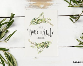 30 x save-the-date card * Green Garden *.