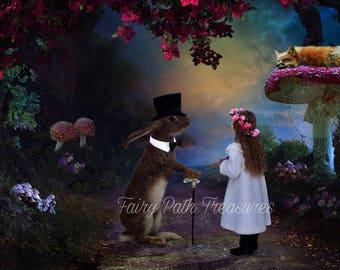 Hello Mr Rabbit Digital Backdrop