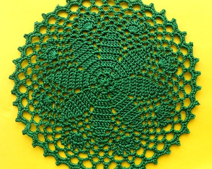 5 inch Doily, Brigth Green Doily, Emerald Green Coaster, Crochet Table Decoration, Green Table Setting, Cotton Crochet Table Decor