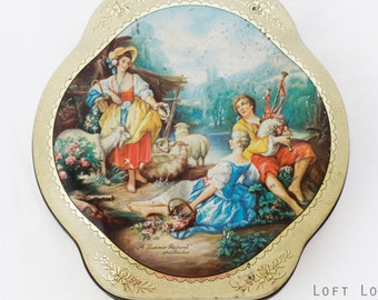 "Sweet vintage former chocolates-tin (Cote d'Or ) featuring a romantic Victorian garden-scene: A Summer Pastoral "" after Boucher"
