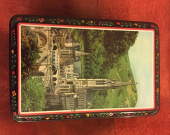 Vintage Collectible Breton Biscuit Tin with Cathedral Motif, Made in France