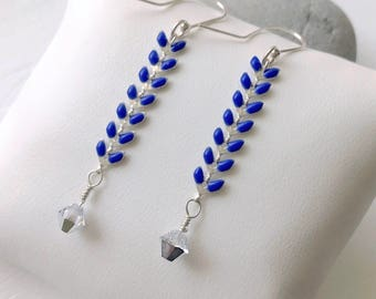 925 Silver with blue corn chain and Swarovski crystal earrings