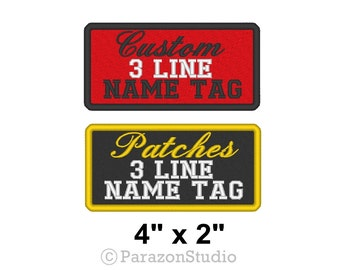 """Custom Embroidered Name Tag Sew on Patch Biker Outlaw 3 Lines Badge 4"""" x 2"""" (A)"""