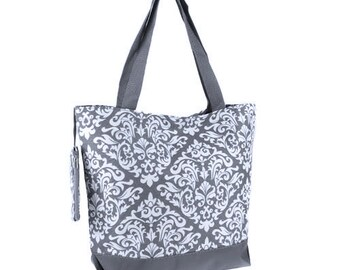 10 Personalized Bridesmaid Gift Damask  Tote Bag Gray