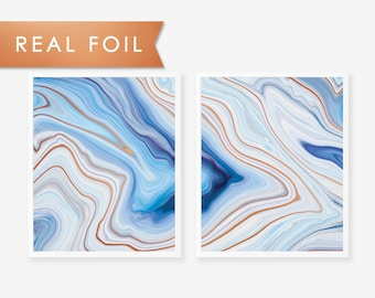Set of 2 Blue Abstract Agate Marble with Copper Foil Art Print