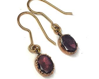 SALE! Early Nineteenth Century Garnet Drop Earrings