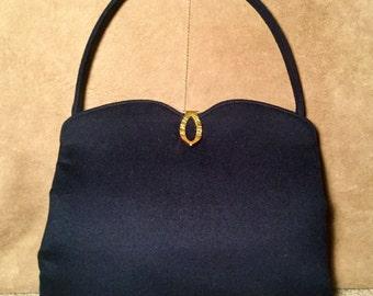 M M Malama Navy Wool Handbag