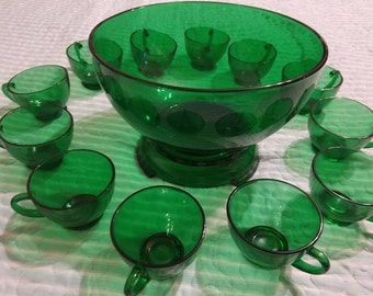 Anchor Hocking Forest Green Punch Bowl with Stand and 12 punch / snack cups ~ Circa 1950's - 1965