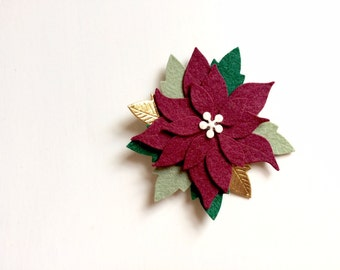 Burgundy Poinsettia with gold and evergreen leaves - alligator clip - headband - Christmas - Holiday