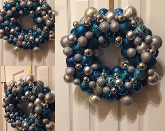 Blue and silver baubles wreath