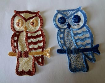 Owl Appliques Vintage 70's Blue and White, Plus Brown and White, Sew on Crafts Never Used Dead Stock