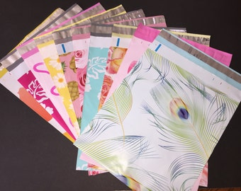 50 YOU CHOOSE Assorted Designer Poly Mailers 10x13 Peacock Pineapple Hearts Cupcake Hibiscus Roses Daisies Flowers Envelopes Shipping Bags