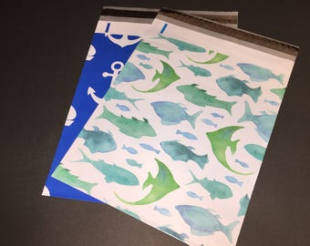 100 SALE 10x13 FISH Marine and ANCHOR Nautical Assortment Poly Mailers 50 Each Self Sealing Envelopes