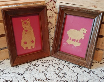 VINTAGE 2 wooden with collage frames / Mid-century 2 wooden frame / VTG frames with animals