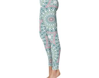 Printed Leggings - Unique Tights, Green and White Medallion Pattern Yoga Pants, Modern Leggings, Mandala Clothing