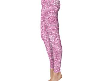 Workout Womens Pants - Mulberry Yoga Leggings, Raspberry Leggings, Red and White Printed Leggings, Mandala Art Tights, Pink Stretch Pants