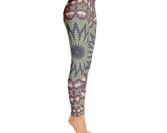 Yoga Art Leggings - Green, Blue and Burgundy Womens Yoga Pants, Patterned Leggings