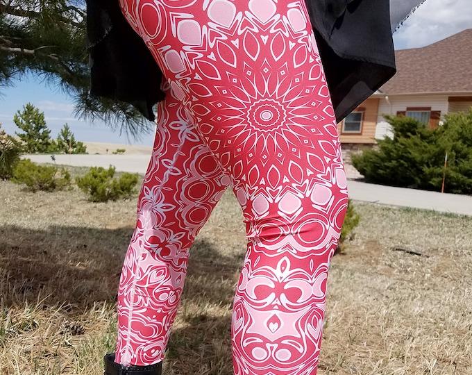 Featured listing image: Red Leggings - Mandala Art Yoga Pants, Mid Rise Yoga Leggings, Printed Leggings