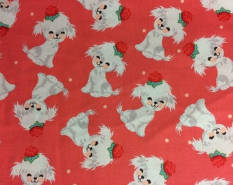 White puppy dog rose fabric, dog fabric, cute fabric, animal fabric, pets, cotton fabric