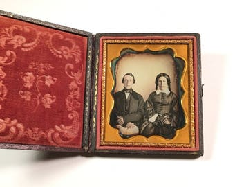 Quality Daguerreotype of a Young Couple, 19th Century Antique Photo in Full Case