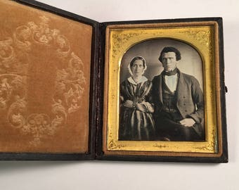 Early Daguerreotype in Full Case, Handsome Couple on Scovills Plate, 19th Century Antique Photograph
