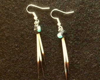 Porcupine Quill Earrings, Sinew Wrapped and Beaded