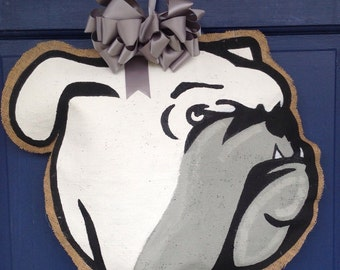 Burlap Wreath Bulldog Door Hanger