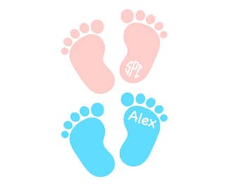Baby Feet Monogram/Name Decal - Personalized Vinyl Decal