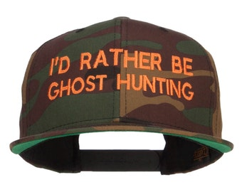 I'd Rather Ghost Hunting Embroidered Camo Cap