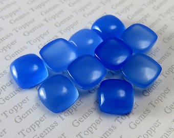 5mm 6mm 7mm Blue Chalcedony Cushion Cabochon AAA+ Quality Natural Blue Chalcedony Cabochon Cushion Loose Gemstone Cushion Shape Gemstones
