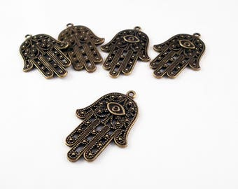 BP104 - 3 designs pendant hand Fatima luck Health Protection silver Bronze / Silver Bronze Hamsa Hand Protection Health for Styles 3