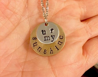 You are my sunshine hand-stamped mixed metal discs silver and gold necklace