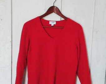 Red Cashmere V Neck/ Vintage Cashmere Sweater/ Cashmere Sweater Size Medium/ Women's Red Cashmere Pullover