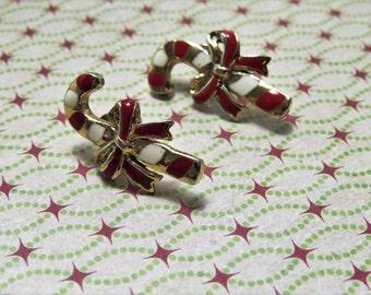Vintage Enamel Candy Cane Christmas Earrings