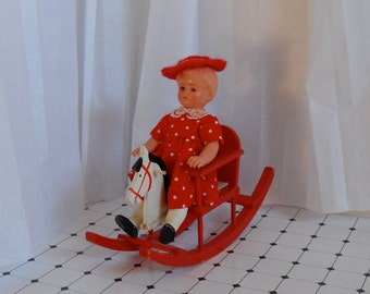 Small vintage doll with Rocking horse, Small dressed doll, Miniature girl doll, Antique doll, Dolls house doll, Gift for her, Collector Doll